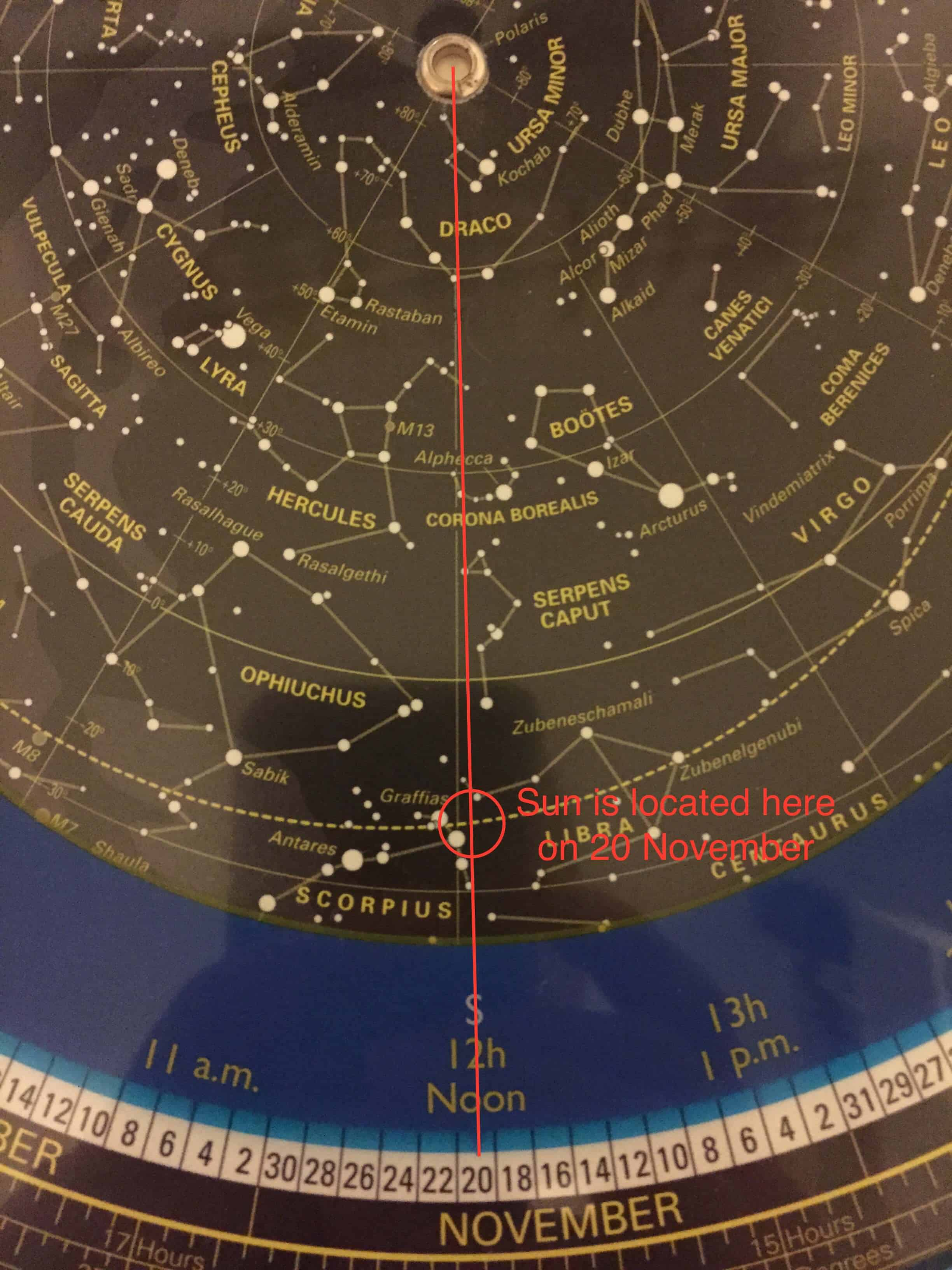 Finding the sun's location using a planisphere
