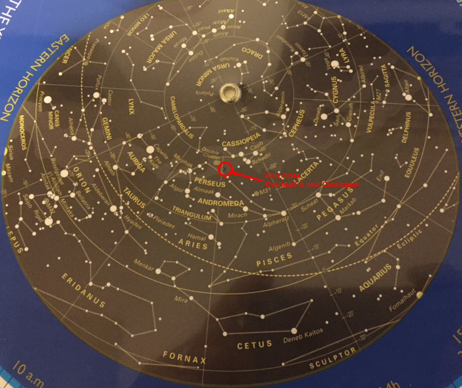 Finding the zenith on a planisphere