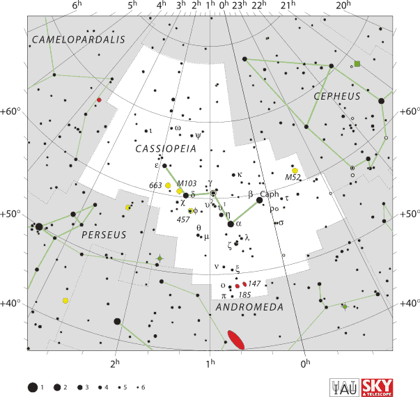 Cassiopeia is a circumpolar constellation in all US states except Hawaii and Florida