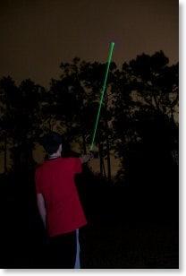 Laser pointer at night