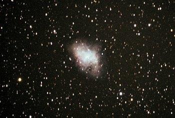 Crab nebula in a telescope