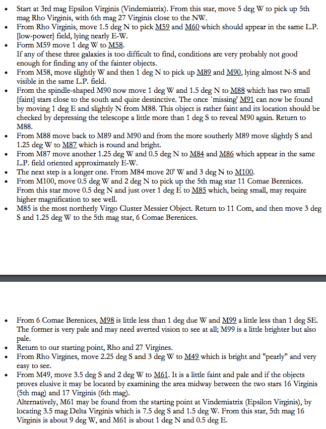 Extract from SEDS guide to seeing the Virgo Cluster of Galaxies