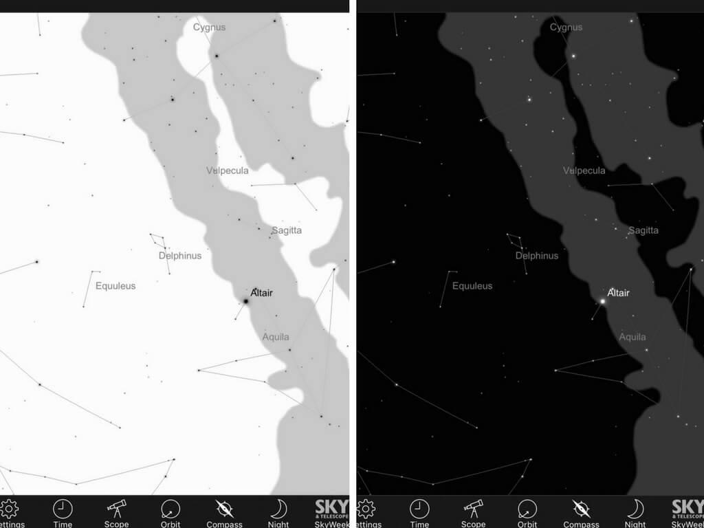 Inverse Monochrome and Monochrome screens on Sky Safari