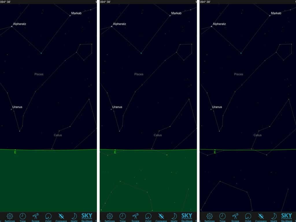 Opaque, transparent and line horizons in Sky Safari